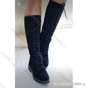 Boty vysoké broušená koženka šněrovací z boku zip dámské (36-41) OBUV OB218355