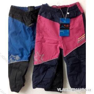 Kalhoty šusťákové zateplené flaušem kojenecké a dětské dívčí a chlapecké (86-110) KUGO H200