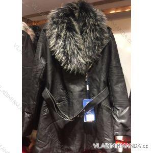 Bunda dlouhá zimní koženka s kožešinou dámská (s-2xl) EMT-ALNWICK EMT18027