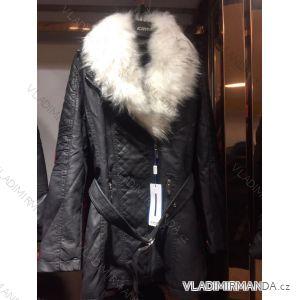 Bunda dlouhá zimní koženka s kožešinou dámská (s-2xl) EMT-ALNWICK EMT18028