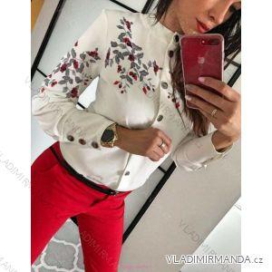 Tunika košilová halenka dlouhý rukáv dámské květy (uni s-l) ITALSKá MODA IM919070