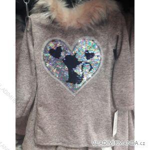 Mikina s kapucí teplá dětská dorost dívčí (4-14let) TURECKá MóDA TM218204