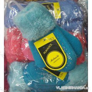 Rukavice palčáky teplé s kožíškem dětské (uni) SANDROU COLLECTION MIC18014