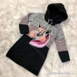 Mikina s kapucí a flitry dětská dorost dívčí možno nosit jako šaty  (4-12 let) TURECKá MóDA TM218212