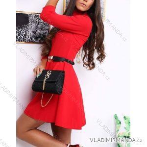 Šaty elegantní 3/4 dlouhý rukáv dámské s rolákem (uni s/m) ITALSKá MóDA IMT18834