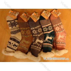 Ponožky zateplené bavlnou protiskluzové dámské (35-42) AMZF PB602