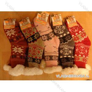 Ponožky zateplené bavlnou protiskluzové dámské (35-42) AMZF PB-604