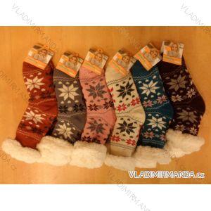 Ponožky zateplené bavlnou protiskluzové dámské (35-42) AMZF PB601
