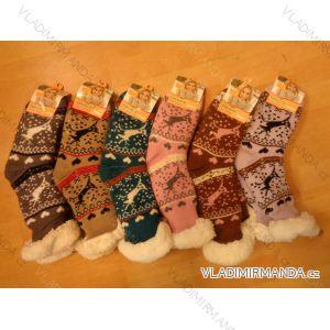 Ponožky zateplené bavlnou protiskluzové dámské (35-42) AMZF PB-600