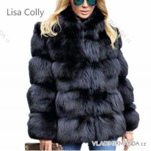 Kožíšek zimní dámský s koženkovými kapsami teplá umělá kožešina (s-4xl) AFASHION AF19016