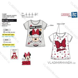Tričko krátký rukáv minnie mouse třpytivé dětské dívčí bavlněné (3-8 let) SUN CITY SE1148