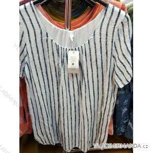 Tričko tunika krátký rukáv dámská proužek (uni xl-3xl) ITALSKá MóDA IM419108
