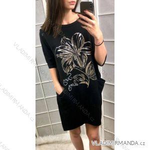 Šaty tunika 3/4 rukáv dámské s kapsami (uni s-l) ITALSKÁ MÓDA IM419185