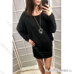 Šaty tunika 3/4 rukáv dámské netopýří rukáv (uni s-l) ITALSKÁ MÓDA IM419189