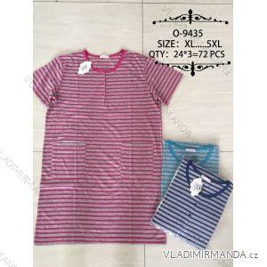 Šaty proužkované krátký rukáv dámské nadrozměrné (xl-5xl) O-9435