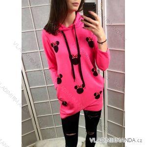 Šaty mouse teplákové mikina dlouhý rukáv dámská neonové (uni s-l) ITALSKá MóDA IM419196