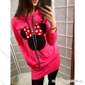 Šaty mouse teplákové Mikina dlouhý rukáv dámská neonové (uni s-l) ITALSKá MóDA IM419197