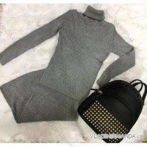 Šaty úpletové dlouhý rukáv dámské (s-l) MC LORENE IMT18M-3896D-MPS