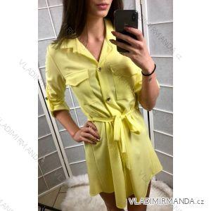 Šaty košilové hrubé 3/4 dlouhý rukáv dámské (uni s-l) ITALSKá MóDA IMC19017
