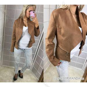 Modní sako bez zapínání imitace broušené kůže dámský (s-l) BEAUTY FASHION IMT18J-9725