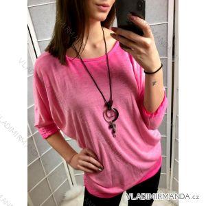 Tričko tunika 3/4 rukáv dámská se šperkem netopýří rukáv (uni s-l) ITALSKá MóDA IM419206