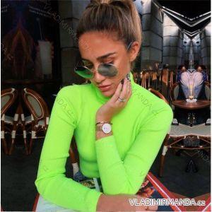 Rolák tričko dlouhý rukáv řádkový bavlněný dámský neon (uni s-l) ITALSKá MóDA AF19048