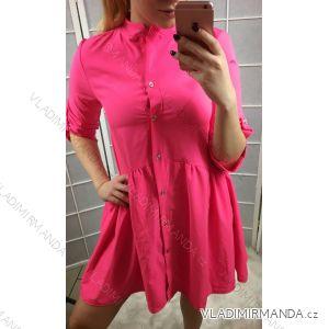 Šaty 3/4 rukáv dámské neon košilové (uni s-l) ITALSKÁ MÓDA IMT19170