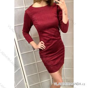 Šaty 3/4 dlouhý rukáv broušená koženka dámské (s-l)  ITALSKá MóDA IM9188850