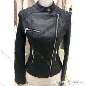 Bunda dlouhý rukáv kožená dámská (s-2xl) MISS SISSY MA119025
