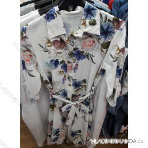 Šaty košilové 3/4 dlouhý rukáv dámské květy (uni s/m) ITALSKÁ MÓDA IMT19305