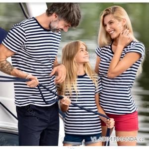 Tričko basic krátký rukáv dětské dorost námořnický proužek (4-12) REKLAMNí TEXTIL 805-sailor