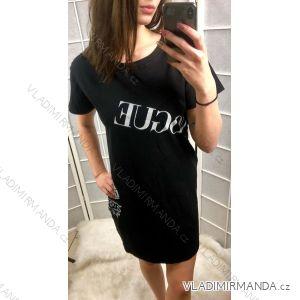 Tunika šaty krátký rukáv dámské (uni s-l) ITALSKá MóDA IMC19103