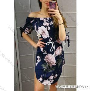Šaty letní krátké s odhalenými rameny se šňůrkou dámské květ (uni s/m) ITALSKá MóDA IM919285