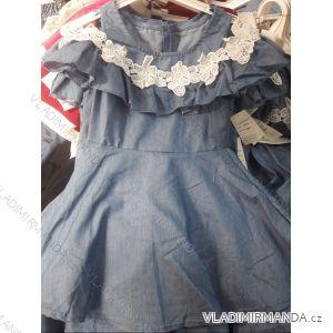 Šaty letní krátký rukáv s odhalenými rameny dětské dorost riflové s krajkou (4-14 let) ITALSKÁ MLADÁ MÓDA IMM219036
