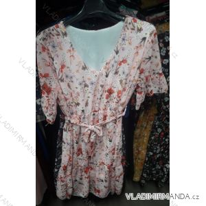 Šaty letní 3/4 dlouhý rukáv dámské květy s mašlí (uni s/m) ITALSKá MóDA IM919556