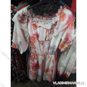 Šaty letní krátký rukáv odhalená ramena dámské květy (uni s/m) ITALSKá MóDA IM919557