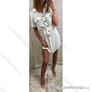 Šaty košilové 3/4 dlouhý rukáv dámské (uni s/m) ITALSKá MóDA IM919328