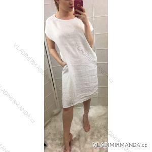 Šaty krátký rukáv s kapsami dámské plátýnko (uni m/l) ITALSKá MóDA IM719180