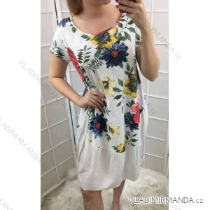Šaty krátký rukáv letní dámské květy (uni m/l) ITALSKá MóDA IM519225