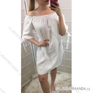 šaty tunika 3/4 rukáv dámské s holými rameny plátýnko (uni s/m) ITALSKá MODA IM519217