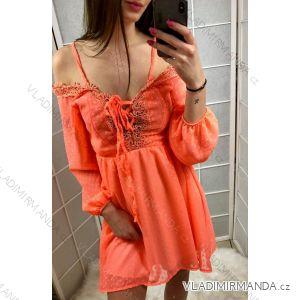 Šaty dlouhý rukáv s odhalenými rameny dámské neon (uni s-l) ITALSKá MóDA IMT19229