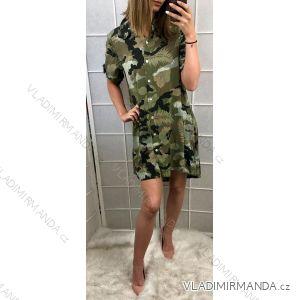 Šaty košilové 3/4 nebo dlouhý rukáv maskáč dámské (uni s/m) ITALSKá MóDA IMT190425