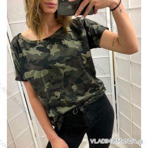 Tričko s krátkým rukávem dámské maskáč (uni s/m) ITALSKá MóDA IM519073