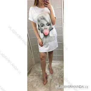 Šaty oversize krátký rukáv dámské letní s nášivkou (uni s/m) ITALSKá MóDA IM819045