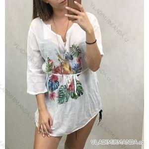 Košile 3/4 dlouhý rukáv dámská se šňůrkou a šperkem (uni s/m) ITALSKá MóDA IM719702
