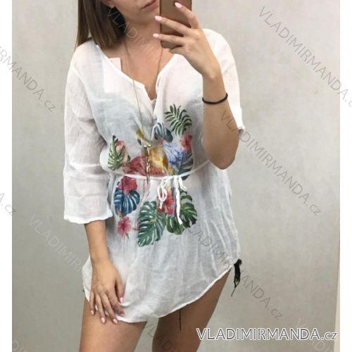 Košile 3/4 dlouhý rukáv dámská se šňůrkou a šperkem (uni s/m) ITALSKá MóDA IM719703