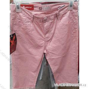 Kalhoty 3/4 plátěné tenké letní dámské nadrozměrné (30-42) SUNBIRD SUN19017XL
