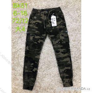 Kalhoty plátěné dětské dorost chlapecké maskáčové (6-16 let) SAD SAD19BK51