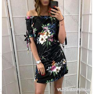 Šaty krátký rukáv dámské letní holá ramena (uni s/m) ITALSKá MóDA IM419753