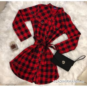 Šaty košilové 3/4 nebo dlouhý rukáv kostka dámské se stojáčkem  ( m-xxl) FRANCIE SMK23/DR